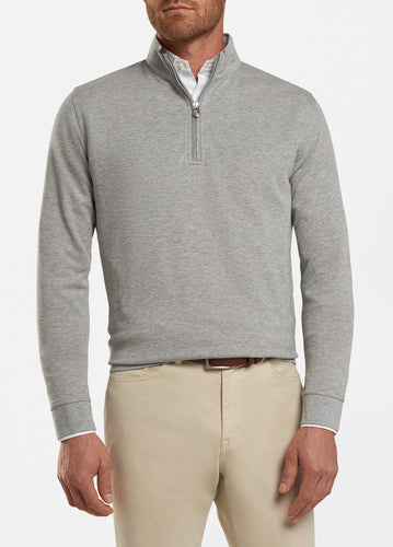 peter millar light grey ME0K40 crown comfort interlock quarter zip with custom logo pullovers
