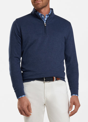 peter millar navy ME0K40 crown comfort interlock quarter zip with custom logo pullovers