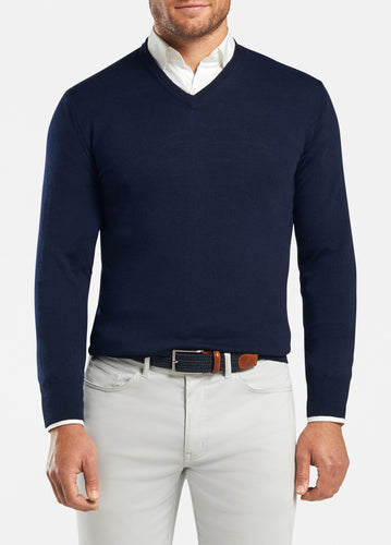 peter millar navy ME0S31 crown soft v neck with custom logo pullovers