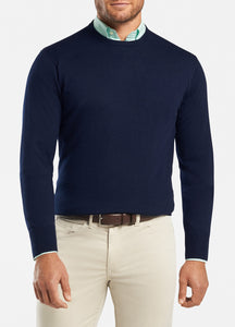 peter millar Navy ME0S42 crown soft crew sweater with custom logo pullovers