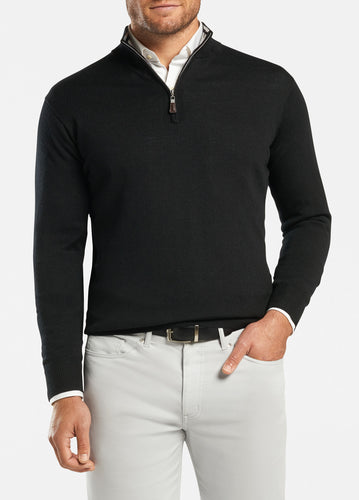 peter millar black ME0S52 crown soft quarter zip with custom logo pullovers