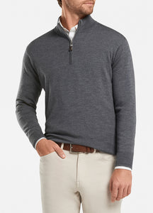 peter millar charcoal ME0S52 crown soft quarter zip with custom logo pullovers
