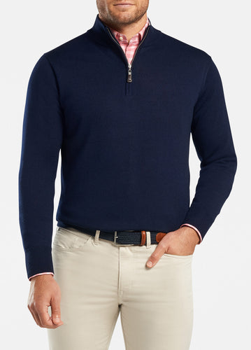 peter millar Navy ME0S52 crown soft quarter zip with custom logo pullovers
