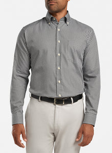 peter millar black ME0W03NBL crown soft gingham sport shirt with custom embroidered shirts