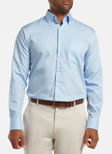 peter millar cottage blue ME0W03NBL crown soft gingham sport shirt with custom embroidered shirts
