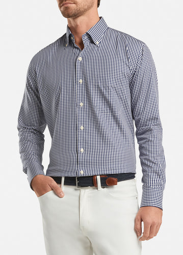 peter millar navy ME0W03NBL crown soft gingham sport shirt with custom embroidered shirts