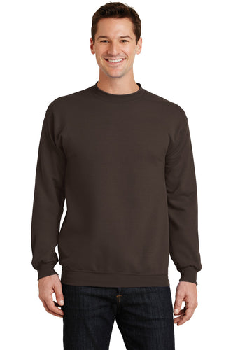 port & company dark chocolate brown pc78 embroidered sweatshirts for business