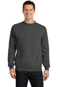 port & company dark heather grey pc78 embroidered sweatshirts for business