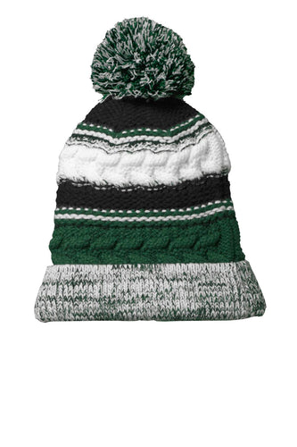 sport tek pom pom team beanie forest green black white