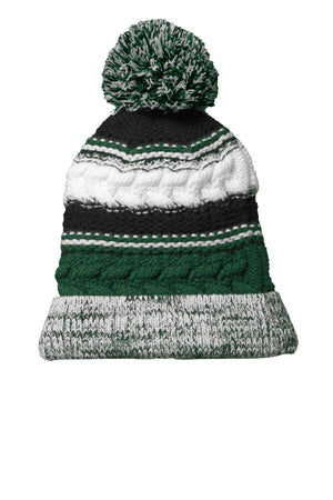 Sport-Tek Pom Pom Team Beanie STC21 Forest Green/ Black/ White