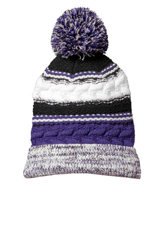 sport tek pom pom team beanie purple black white