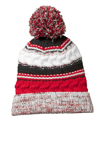 sport tek pom pom team beanie true red black white