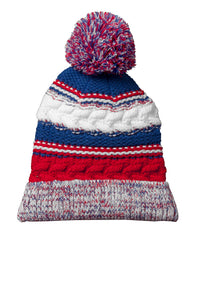 sport tek pom pom team beanie true red true royal white