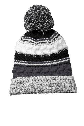 sport tek pom pom team beanie iron grey black white