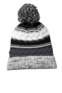 Sport-Tek Pom Pom Team Beanie STC21 Iron Grey/Black/White