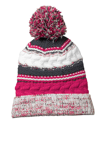 sport tek pom pom team beanie pink raspberry iron grey white