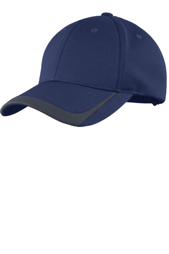 sport tek pique colorblock cap true navy graphite