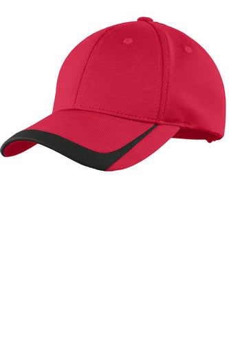 sport tek pique colorblock cap true red black