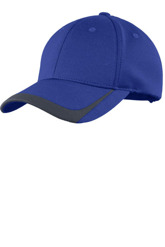 sport tek pique colorblock cap true royal graphite