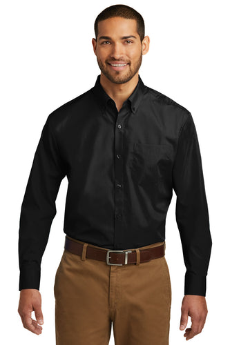 Port Authority Deep Black W100 logo shirts