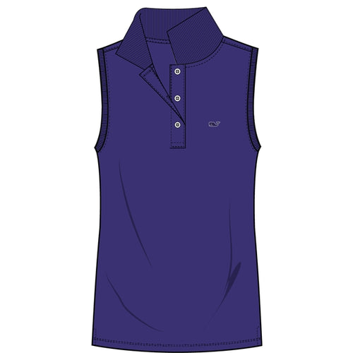 Vineyard Vines Women's Sleeveless Performance Pique Polo 2K1355 Royal Ocean