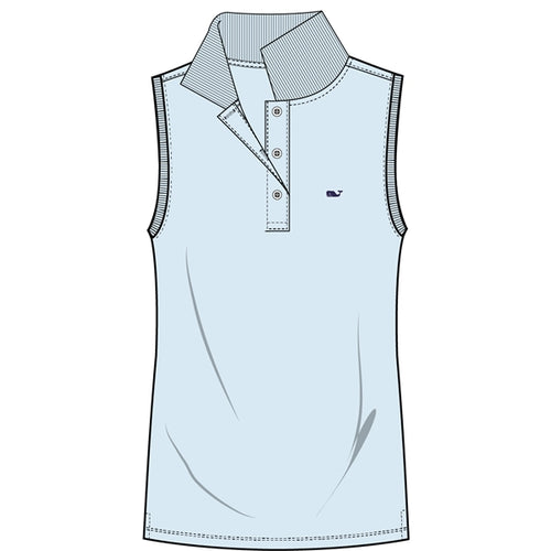 Vineyard Vines Women's Sleeveless Performance Pique Polo 2K1355 Crystal Blue