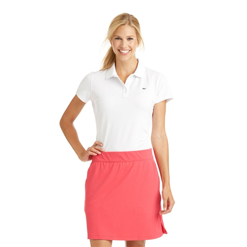 Vineyard Vines Women's Short Sleeve Performance Polo 6K0556 White Cap