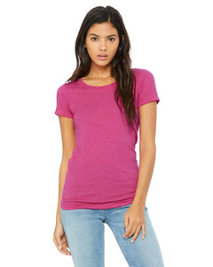 bella + canvas ladies triblend short sleeve t-shirt b8413 berry triblend