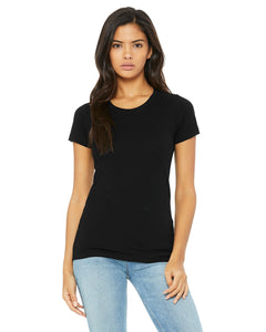 bella + canvas ladies triblend short sleeve t-shirt b8413 solid blk trblnd