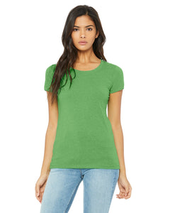 bella + canvas ladies triblend short sleeve t-shirt b8413 green trblnd new