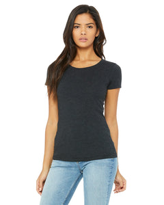 bella + canvas ladies triblend short sleeve t-shirt b8413 char-black trib