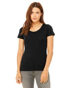 bella + canvas ladies triblend short sleeve t-shirt b8413 blk hthr triblnd