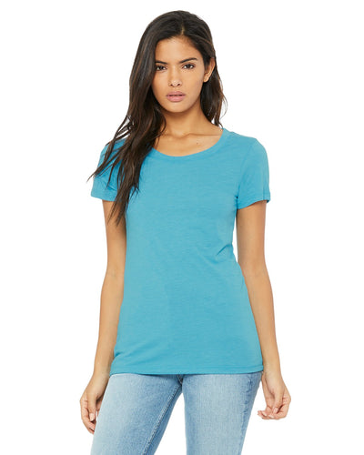 bella + canvas ladies triblend short sleeve t-shirt b8413 aqua triblend