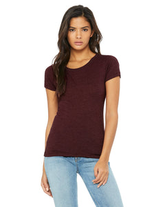 bella + canvas ladies triblend short sleeve t-shirt b8413 maroon triblend