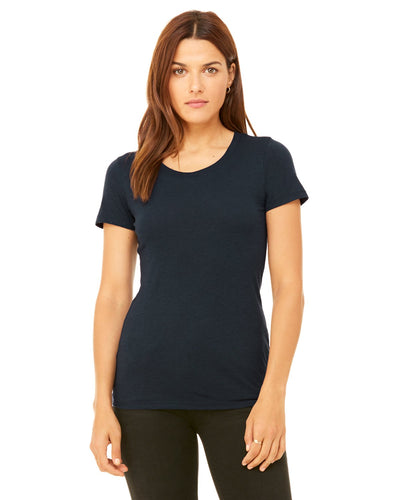 bella + canvas ladies triblend short sleeve t-shirt b8413 solid navy trbln