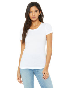 bella + canvas ladies triblend short sleeve t-shirt b8413 solid wht trblnd