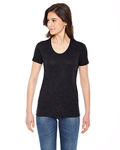 American Apparel Ladies' Poly-Cotton Short-Sleeve Crewneck BB301W HEATHER BLACK
