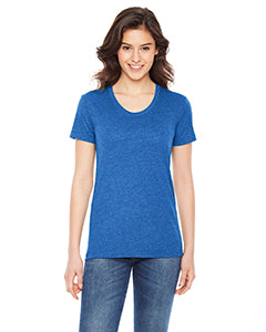 American Apparel Ladies' Poly-Cotton Short-Sleeve Crewneck BB301W HTHR LAKE BLUE