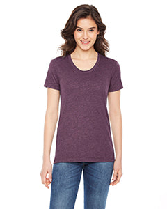 American Apparel Ladies' Poly-Cotton Short-Sleeve Crewneck BB301W HEATHER PLUM
