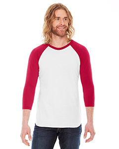 American Apparel Unisex Poly-Cotton 3/4-Sleeve Raglan T-Shirt BB453 WHITE/ RED