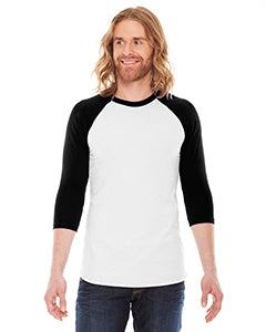 American Apparel Unisex Poly-Cotton 3/4-Sleeve Raglan T-Shirt BB453 WHITE/ BLACK