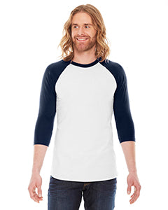 American Apparel Unisex Poly-Cotton 3/4-Sleeve Raglan T-Shirt BB453 WHITE/ NAVY