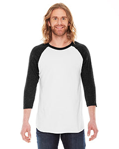 American Apparel Unisex Poly-Cotton 3/4-Sleeve Raglan T-Shirt BB453 WHITE/ HTH BLACK