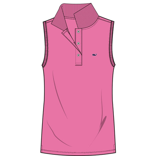 Vineyard Vines Women's Sleeveless Performance Pique Polo 2K1355 Malibu Pink