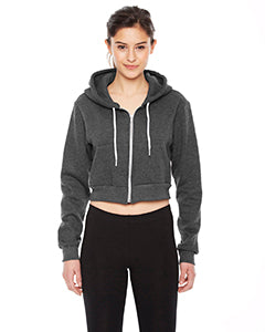 American Apparel Ladies' Cropped Flex Fleece Zip Hoodie F397W DK HEATHER GREY