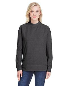 J America Ladies' Weekend French Terry Mock Neck Crew JA8428 CHARCOAL