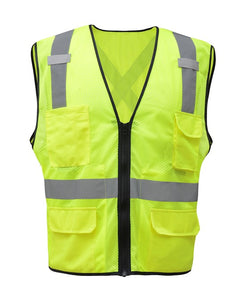 GSS Premium Class 2 Utility Safety Vest with X Back 1605 Lime
