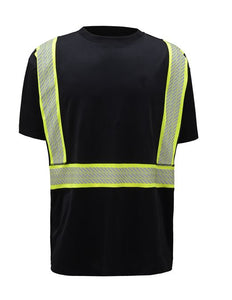 GSS Class 2 Onyx Twotone Antisnag T shirt with Segment Tape 5703 Black