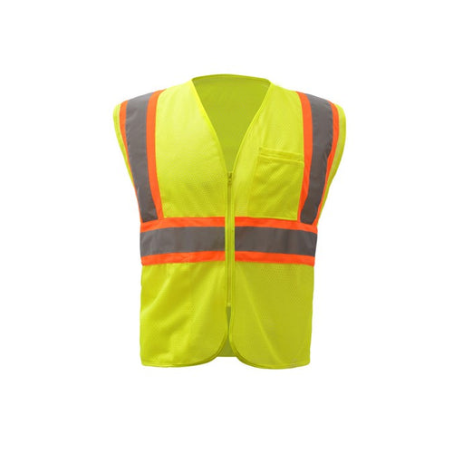 GSS Standard Class 2 Two Tone Mesh Zipper Safety Vest 1005 Lime
