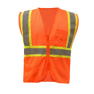 GSS Standard Class 2 Two Tone Mesh Zipper Safety Vest 1006 Orange